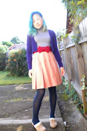 purple Ally cardigan - gray dress - red belt - pink skirt - blue Target Australi