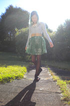 gray Union Bay shirt - beige belt - green skirt - black tights - brown American