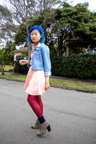 pink dress - blue Squeeze Girls jacket - purple tights - blue socks - brown Mia