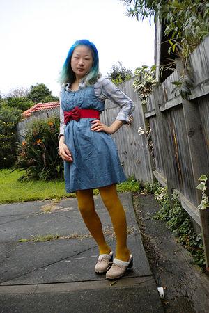 blue Arizona shirt - blue Princess Highway dress - red belt - gold tights - beig