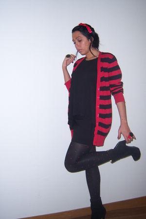 red Primark cardigan - black Primark top - black H&M skirt - red H&M tights - bl