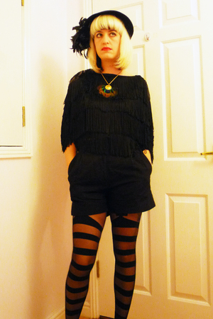 vintage hat - Topshop top - Tara Starlet shorts - Chantal Thomass tights - Urban