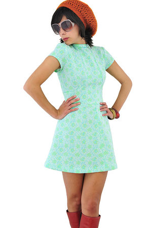 green vintage 1960s empire dress