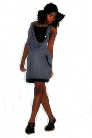 black Jessica Simpson hat - black shoes - gray dress - orange Forever 21 necklac