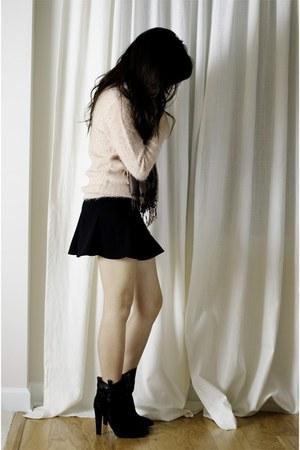Zara boots - Zara skirt - Forever 21 jumper