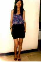 purple Dorothy Perkins top - black Zara skirt - pink stella luna shoes