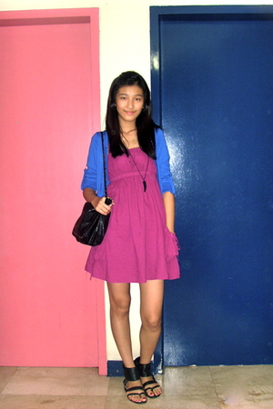 pink 168 dress - blue The Ramp cardigan - black Zara shoes - black from hong kon