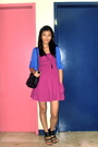 Pink-168-dress-blue-the-ramp-cardigan-black-zara-shoes-black-from-hong-kon