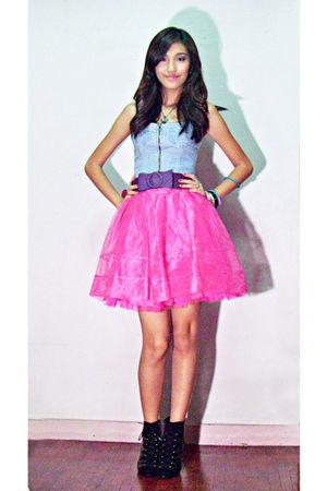 pink Glitterati tutu skirt skirt - blue Zara jean corset top top - purple Petite