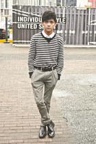 black black Hugo Boss boots - heather gray grey Diesel jeans