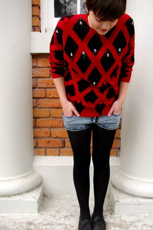 red vintage sweater - blue Urban Outfitters shorts - black Aldo shoes