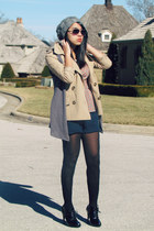 tan trench Forever 21 coat - heather gray beret Forever 21 hat