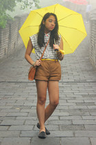 yellow Forever 21 belt - bronze H&M shorts - black UNIF loafers