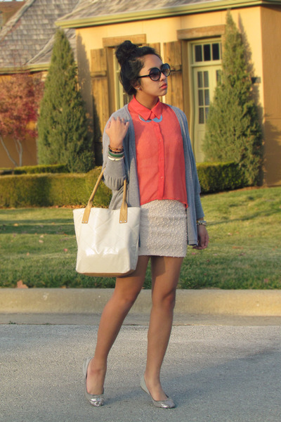 salmon sheer TJ Maxx shirt - eggshell Forever 21 dress