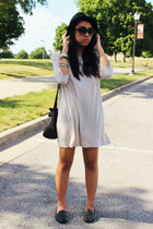 off white shirt Uniqlo dress - black hellraisers UNIF flats