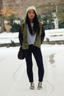 Army-green-trend-h-m-jacket-off-white-beanie-urban-outfitters-hat
