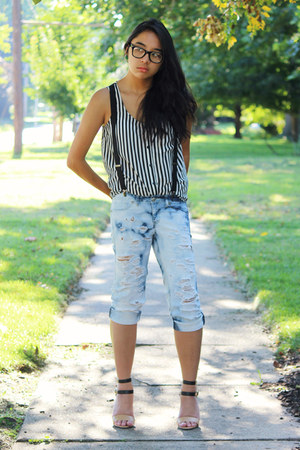 light blue DIY jeans - black striped shirt