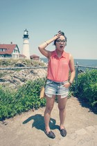sky blue striped Forever 21 shorts - salmon sheer top