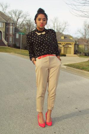 dark gray vintage top - beige trousers Forever 21 pants - salmon Forever 21 belt