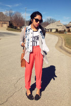 salmon trousers Forever 21 pants - silver Forever 21 cardigan