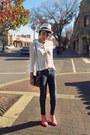 Ivory-sheer-h-m-shirt-navy-sm-jeans-eggshell-fedora-forever-21-hat