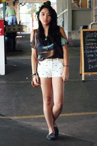teal sheer TJ Maxx shirt - white Mango shorts - black UNIF flats