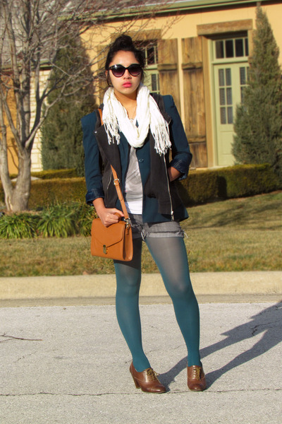 teal Forever 21 blazer - teal Express tights - tawny vintage bag