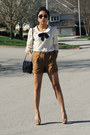 Ivory-forever-21-shirt-black-sequined-francescas-bag-bronze-h-m-shorts