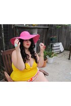 hot pink Target hat - aquamarine consignment shop ring