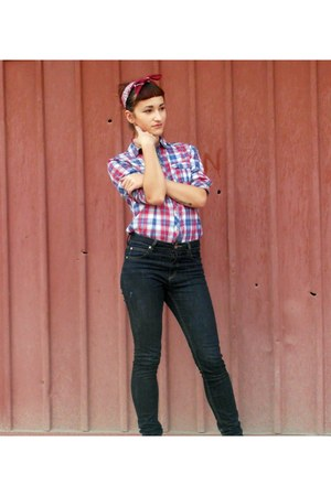 lindex jeans - clockhouse shirt - New Yorker scarf - Converse sneakers