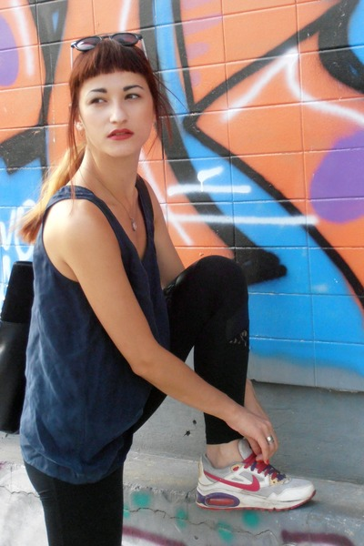 nike sneakers - Tally Weijl leggings - New Yorker sunglasses - Mango blouse