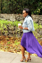 purple Max & Mia dress - brown t-strap sandal Nine West shoes