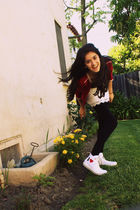 white Converse shoes - black tights - white skirt - black Charlotte Tarantola t-