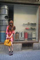 mustard H&M bag - magenta Tuchuzy dress - black knit sunglasses