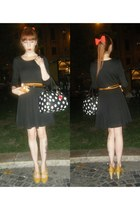 black H&M dress - mustard H&M bag - H&M belt - Stradivarius heels