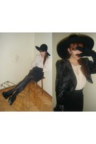 Zara shoes - H&M hat - vintage blazer - vintage bag - H&M Trend blouse