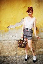 black H&M shorts - black h&m divided shoes - dark brown second hand bag