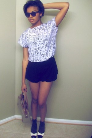dark gray olsenboy shorts - blue Thrifted Blouse blouse - blue Betsey Johnson gl