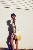 gold purse - white dress - beige sweater