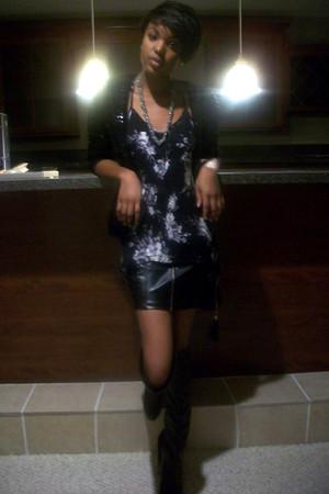 black Lauren Conrad sweater - black Lucky Brand boots - periwinkle Ellen White s