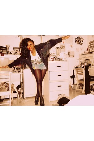 vintage jacket - Forever 21 tights - Urban Outfitters shorts - makemechic heels