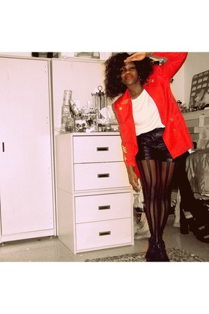 red Thrift Store blazer - black GoJane boots - black Becons closet tights