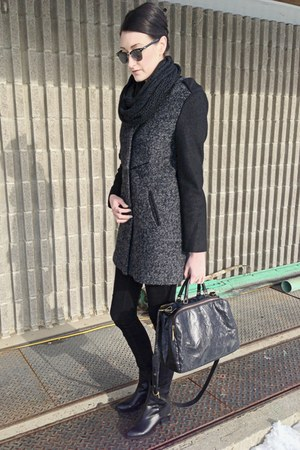 black winners jacket - black choiescom boots - black mattandnat bag