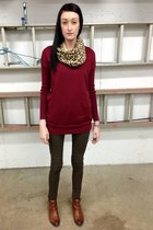 Aldo scarf - brown Aldo boots - crimson Old Navy sweater