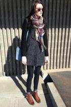 brown Aldo boots - beige Ebay scarf - sky blue Zara bag