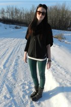 green Forever21 pants - charcoal gray GoJane boots - black Forever21 sweater