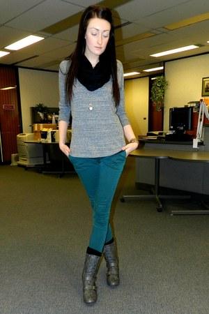 dark green Forever 21 pants - black Ebay scarf - heather gray Forever 21 top