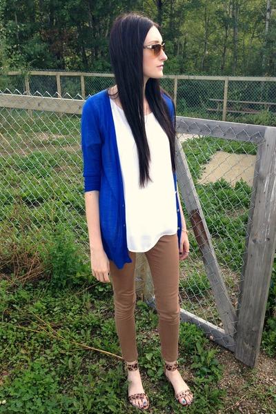 camel alloy pants - blue Ebay cardigan - brown alloy sandals