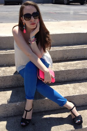 blue Zara jeans - hot pink Zara bag - black Zara sandals