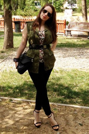 olive green Zara jacket - black Zara bag - black Zara pants - black Zara sandals